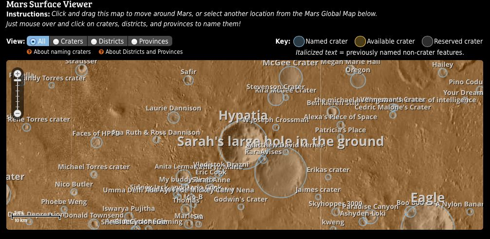 Name a Mars Crater for Christmas