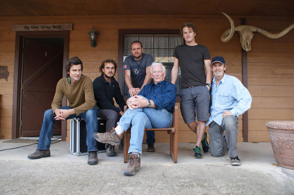 "Gene Cernan (center) with ""The Last Man on the Moon"" film crew at his ranch in Texas."