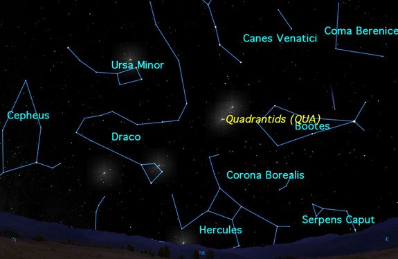 Monday, January 4, midnight to dawn. The Quadrantid meteor shower, one of the most reliable in the year, peaks 3 a.m. on January 4, so the best times to observe will be between midnight and dawn on the morning of the 4th. Look for Comet Catalina in close to Arcturus in Boötes.