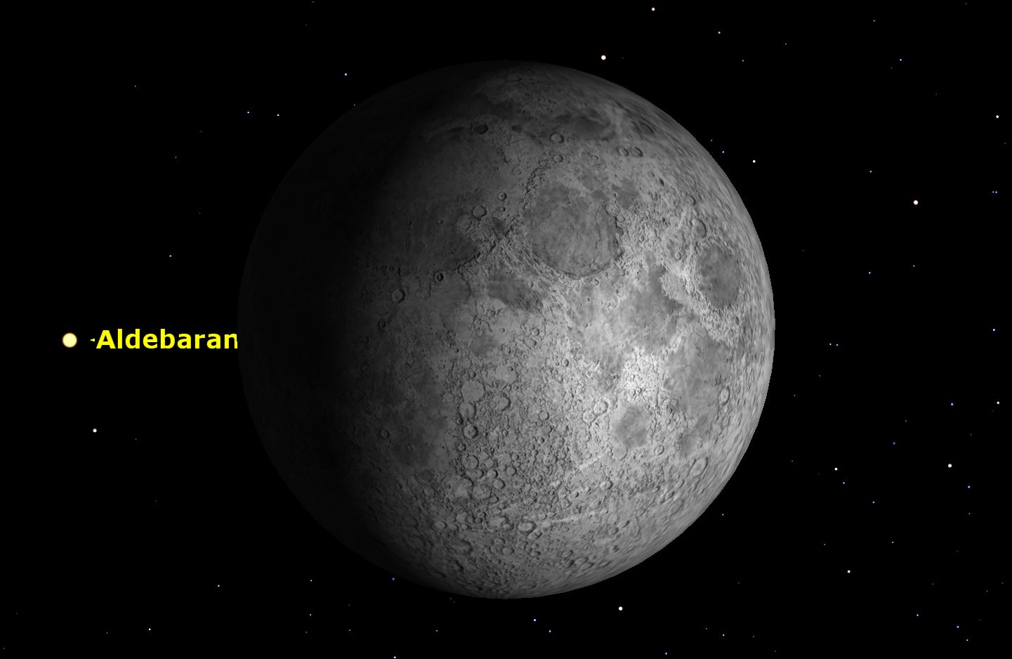 Aldebaran and the Moon, January 2016