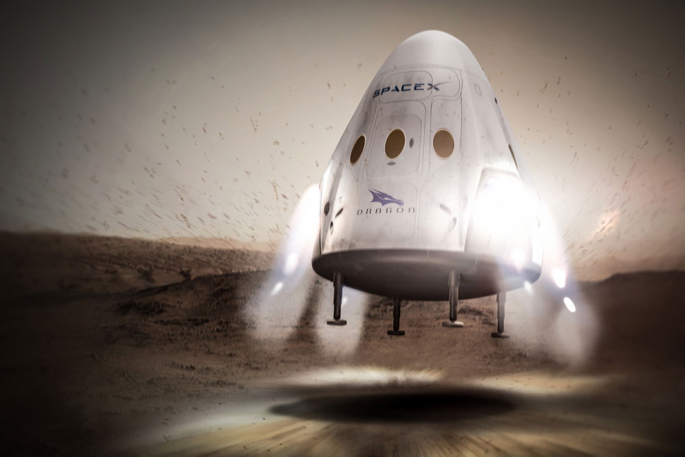 SpaceX's Dragon Capsule Landing on Mars