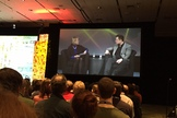 SpaceX founder and CEO Elon Musk talks to Margaret Leinen, the director of the Scripps Institution of Oceanography, on Dec. 15, 2015, at the annual fall meeting of the American Geophysical Union in San Francisco.