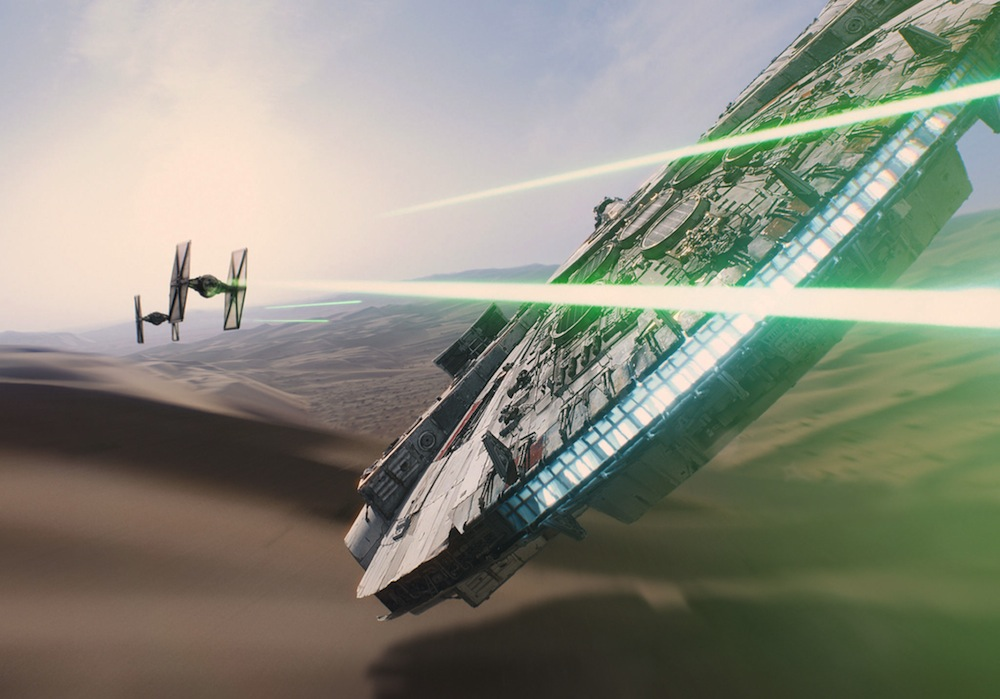 Millennium Falcon Battles TIE Fighters