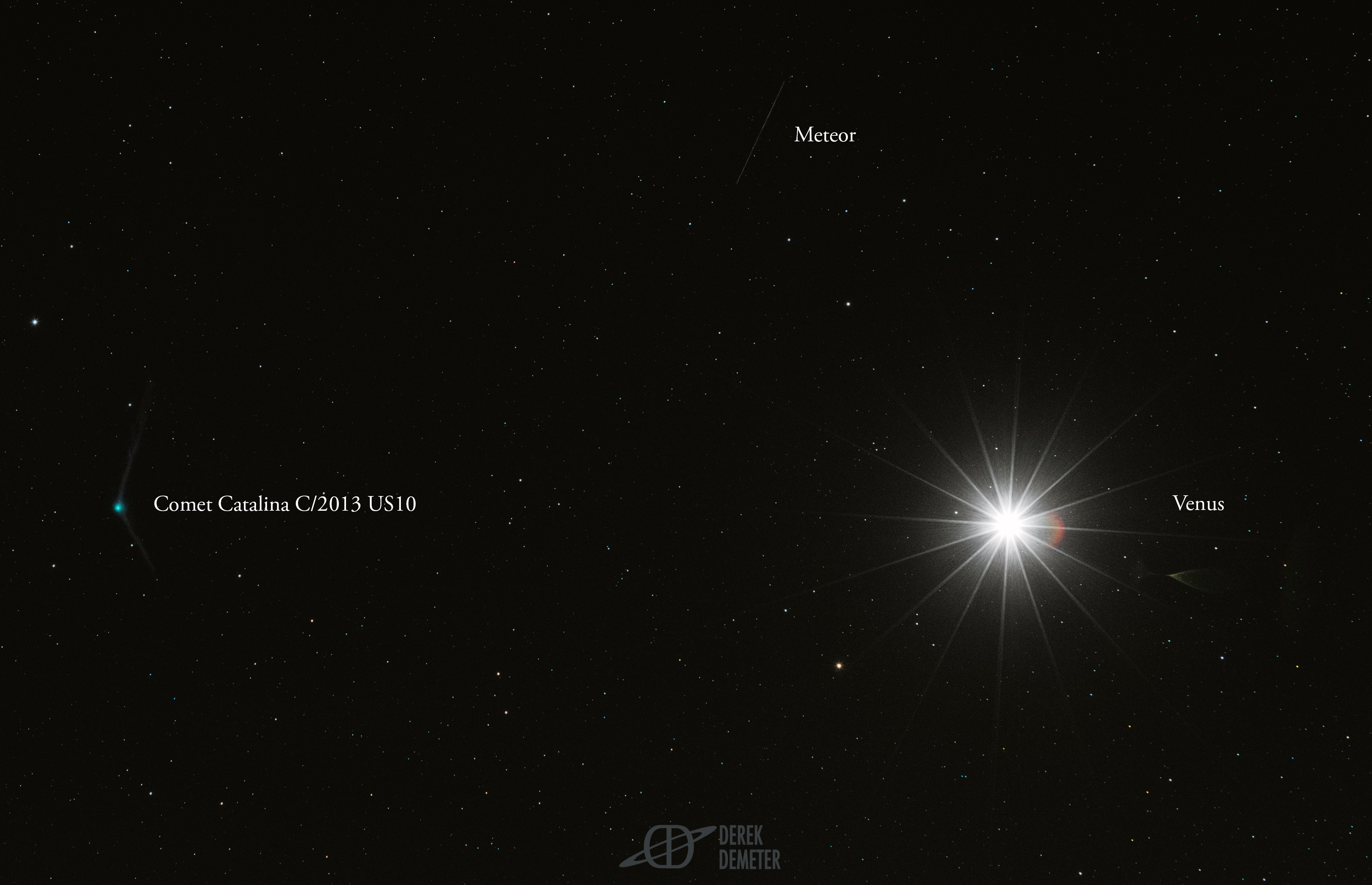 Stargazer Spots Comet Catalina, Meteor and Venus Together (Photo)