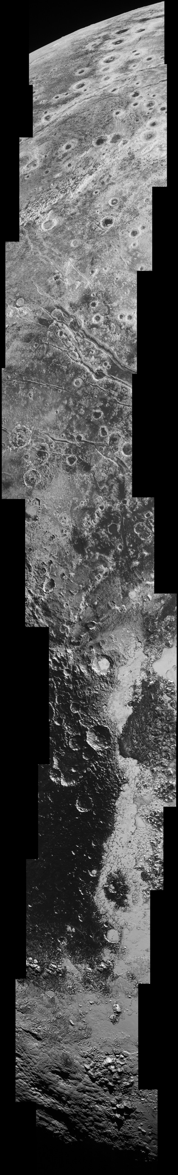 """This image, taken by New Horizons' Long-Range Reconnaissance Imager (LORRI), was taken just before the craft's closest approach to the dwarf planet. To see details as small as 500 yards across, click """"view full size image."""""""
