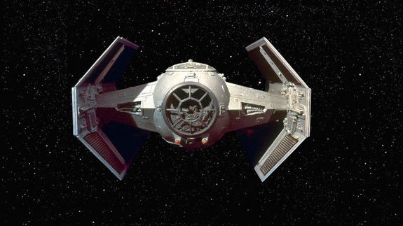 "A TIE fighter from ""Star Wars."""