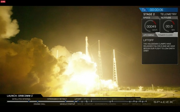 SpaceX's Falcon 9 rocket launches from Cape Canaveral Air Force Station in Florida on Dec. 21, 2015, carrying 11 satellites to space for the company Orbcomm.
