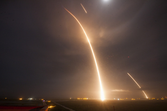 This long exposure captures the launch of SpaceX's Falcon 9 rocket and its subsequent engine burns to return to Earth during a historic flight from Cape Canaveral Air Force Station on Dec. 21, 2015.