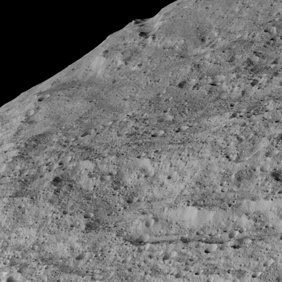 This view of Ceres, taken by NASA's Dawn spacecraft on December 10, shows an area in the southern mid-latitudes of the dwarf planet. It is located in an area around a crater chain called Samhain Catena, from an approximate distance of 240 miles (385 kilometers) from Ceres.