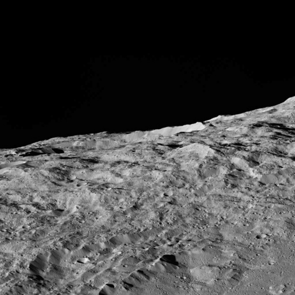 A close-up view of the dwarf planet Ceres, taken on Dec. 10, 2015, by the Dawn space probe, during a maneuver that placed the probe within 240 miles (385 kilometers) of Ceres.