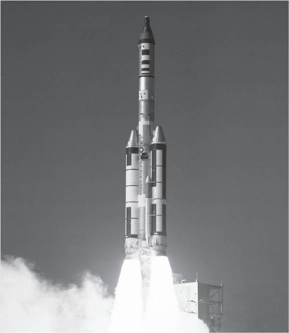 A November 1966 test flight of the Manned Orbiting Laboratory (MOL) using a Titan IIIC-9 booster from Cape Canaveral Launch Complex 40. The flight consisted of a MOL mock-up topped by a refurbished Gemini spacecraft as a Gemini B prototype.