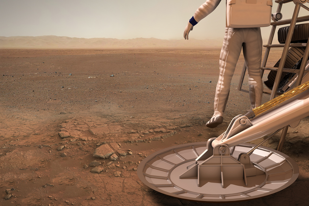 Conception of first step on Mars