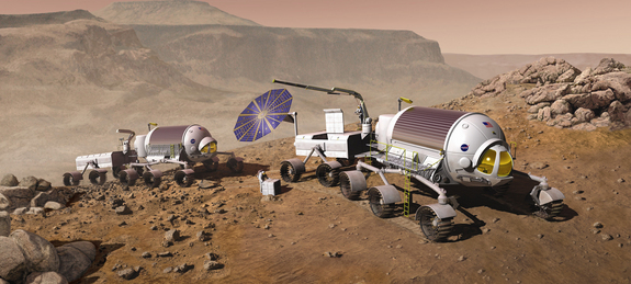 Human exploration of the Red Planet will depend on an evolving suite of vehicles, and also life-sustaining technologies that make use of local resources.