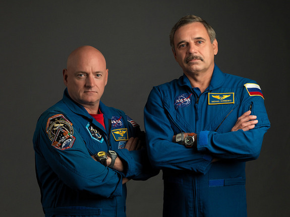 NASA astronaut Scott Kelly (left) and Russian cosmonaut Mikhail Kornienko began a yearlong mission to the International Space Station in March 2015.