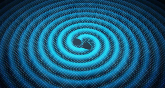 Merging black holes create ripples in space-time in this artist's concept. Experiments are searching for these ripples, known as gravitational waves, but none have been detected.