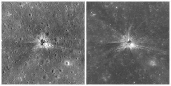Two images showing the impact site of the Apollo 16 mission's S-IVB rocket stage, which hit the lunar surface in April 1972. Each image shows a swathe of the moon 1,300 feet (400 meters) wide; north is up.