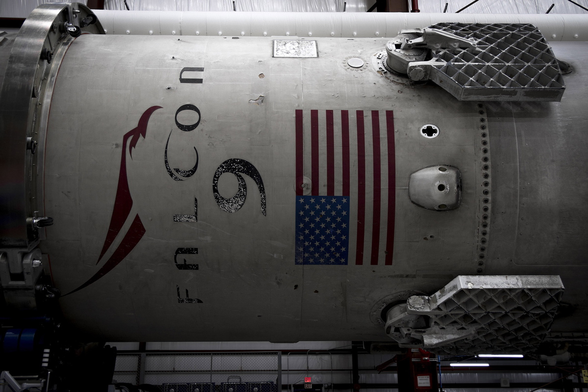 Falcon 9 First Stage in Hangar