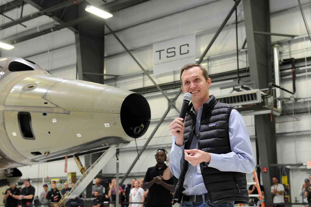Whitesides Speaks in Hangar Housing Second Spaceshiptwo