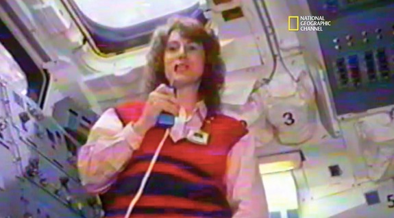 "New Hampshire teacher Christa McAuliffe, who beat out thousands of other people to become America's first civilian astronaut, practices a lesson she planned to beam to kids from orbit in this screenshot from the National Geographic Channel's upcoming documentary ""Challenger Disaster: Lost Tapes."""