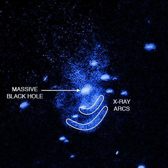 """An annotated view of the """"burping"""" supermassive black hole in the galaxy Messier 51 as seen in X-rays by NASA's Chandra X-ray Observatory in the galaxy Messier 51."""