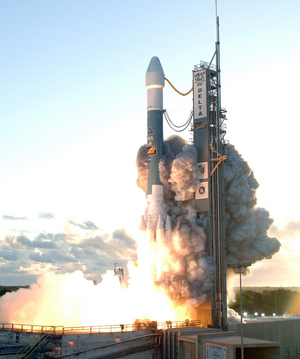 Dawn launches at dawn on September 27 2007, headed for the asteroid belt.