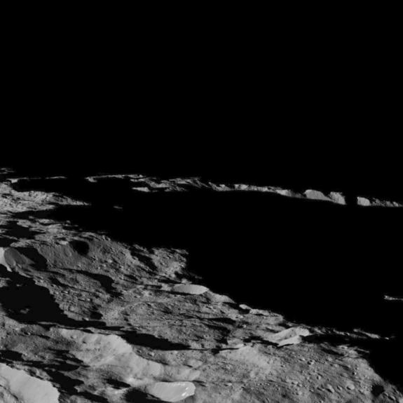 This part of Ceres, near the south pole, has such long shadows because, from the perspective of this location, the sun is near the horizon. At the time When Dawn took this image on December 10, the sun was 4 degrees north of the equator. If you were standing this close to Ceres' south pole, the sun would never get high in the sky during the course of a nine-hour Cerean day.