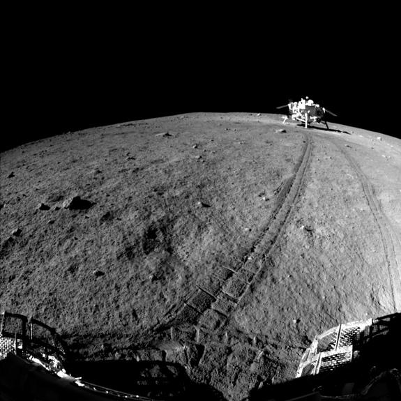 China's Yutu lunar rover took this image of Change'3 lander.