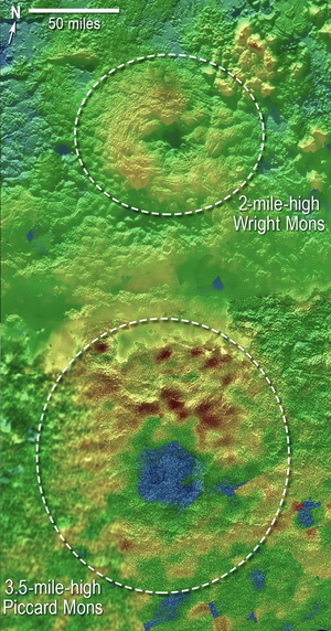Two of Pluto's mountains, named (informally) Wright Mons and Piccard Mons, may be ice volcanoes. Image released November 9, 2015.