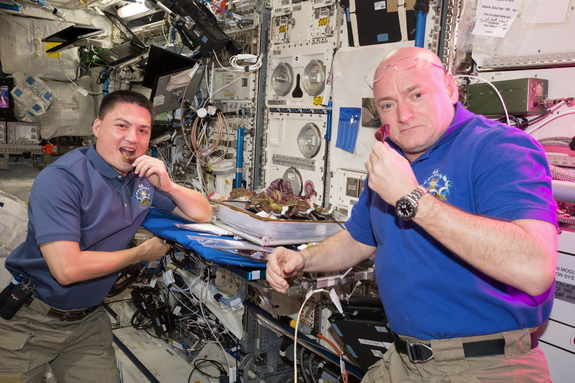 NASA astronauts Kjell Lindgren (left) and Scott Kelly sample lettuce grown earlier with the Veg-01 experiment.