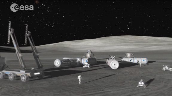 "A video still from ESA's ""The Moon Awakens"" video outlining the agency's rationale for making the Moon ""our next destination on this journey."""