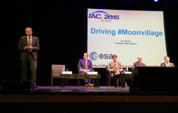 "ESA Director-General Johann-Dietrich Woerner (left) pitching the international ""Moon Village"" concept at the International Astronautical Congress in Jerusalem in October."