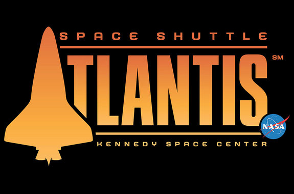 The trademarked logo for the Space Shuttle Atlantis attraction at NASA's Kennedy Space Center Visitor Complex in Florida.