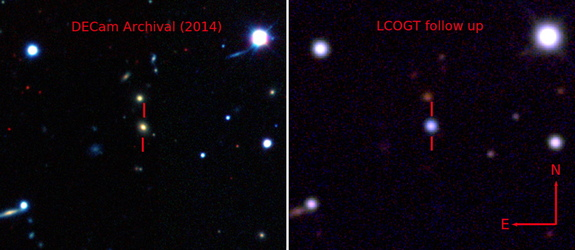 The supernova ASAS-SN15lh brightened its host galaxy considerably: here, a 2014 false-color view of the galaxy from the Dark Energy Camera in Chile and one from the Las Cumbres Observatory Global Telescope Network in 2015, after the supernova's peak.