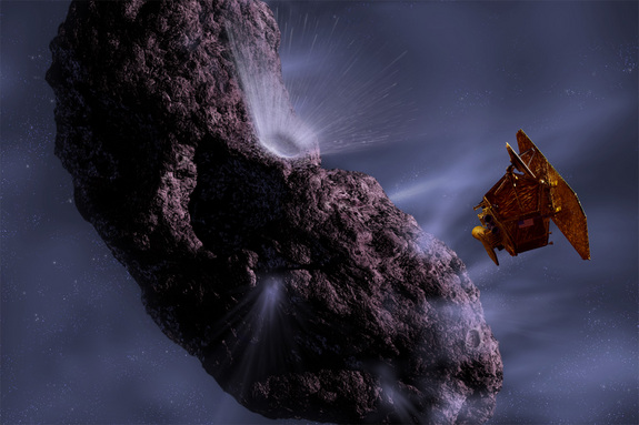 Artist's conception of EPOXI during its previous mission, called Deep Impact, when it visited Comet Tempel 1.