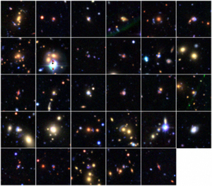 A collage of the 29 new gravitational lensing candidates discovered by volunteer citizen scientists using Space Warps.