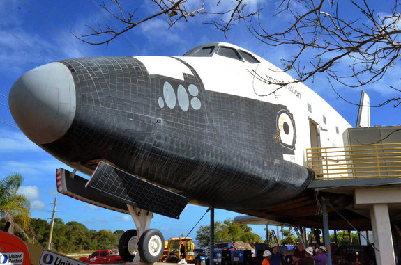 "The mock space shuttle ""Inspiration,"" previously named the ""Shuttle to Tomorrow,"" housed a mul-ti-sensory theater and detailed crew cabin at the U.S. Astronaut Hall of Fame in Florida."