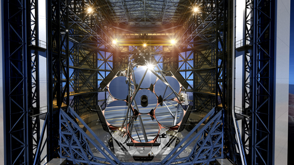 Artist's representation of the seven giant mirrors installed in the Giant Magellan Telescope.