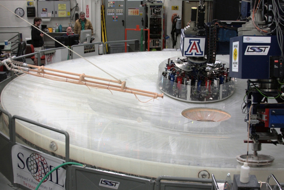 An 8.4-meter mirror for the Large Synoptic Survey Telescope being polished at the Richard F. Caris Mirror Lab.