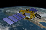 An artist's depiction of the Jason-3 ocean-monitoring satellite in orbit above Earth.