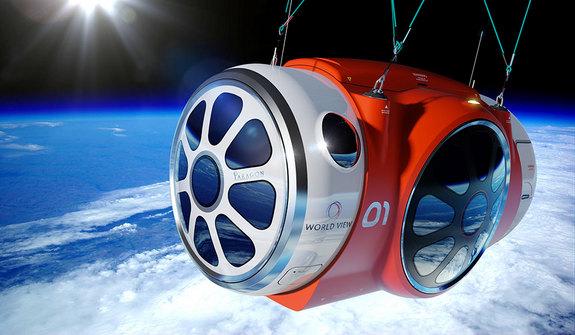 Artist's illustration of World View's balloon-borne passenger capsule in the stratosphere.