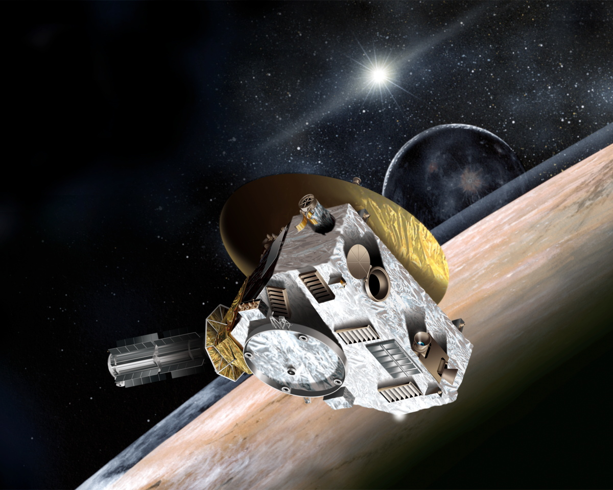 New Horizons Flying by Pluto Image