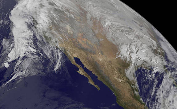 NOAA's GOES-West satellite captured this photo of the winter storm on Jan. 21, 2016, at 10 a.m. EST.