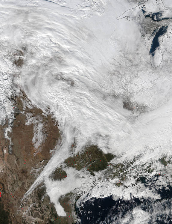 The NASA-NOAA Suomi NPP satellite captured this view of a massive winter storm yesterday (Jan. 20) at 2:30 p.m. EST.