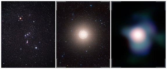 This collage shows Betelgeuse as it appears in the Orion constellation (left; the star is identified by the marker), a zoom toward Betelgeuse (middle), and the sharpest-ever image of this red supergiant, obtained the European Southern Observatory's Very Large Telescope.