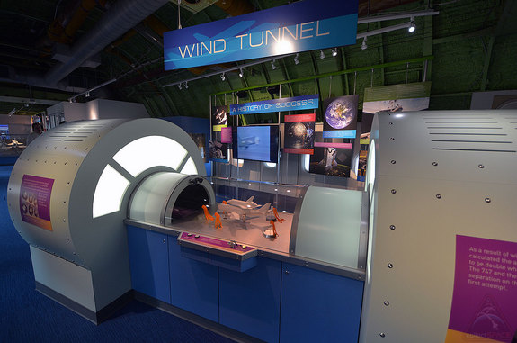 One of the new hands-on exhibits inside NASA's original Shuttle Carrier Aircraft at Space Center Houston replicates a wind tunnel like the type NASA used to ensure the jumbo jet could safely fly with the space shuttle.