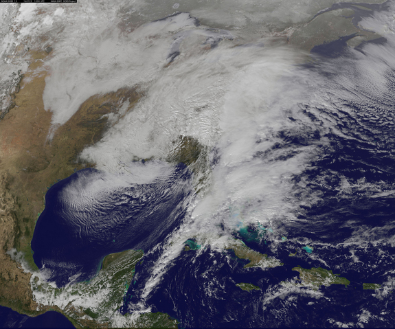 This visible-light view of the winter storm of Jan. 22-23, 2016 was captured by NOAA's GOES-East satellite at 1:30 p.m. EST (1830 GMT), showing the major storm affecting the U.S. East Coast.