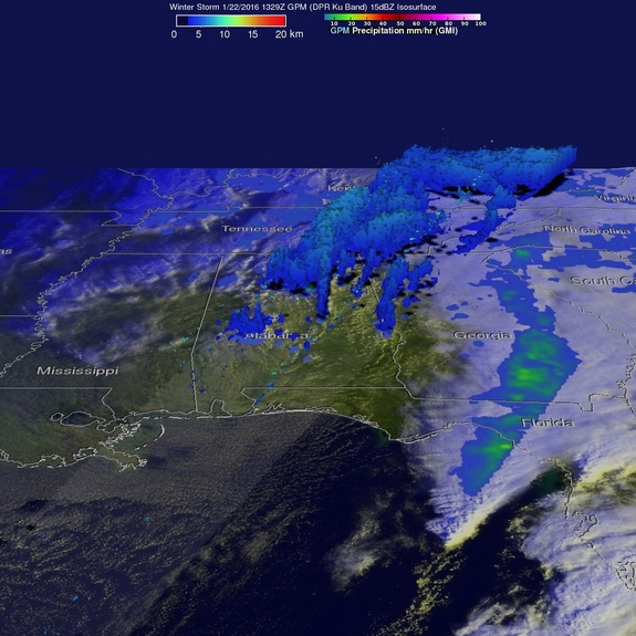 NASA's Global Precipitation Measurement satellite captured this view of the rainfall from this weekend's winter storm at 8:29 a.m. EST (1329 GMT). It showed precipitation falling at 2.5 inches per hour over northern Alabama at the time.