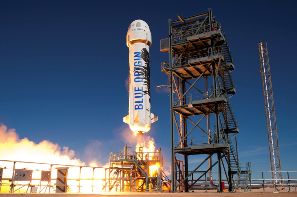 Blue Origin's New Shepard rocket and capsule lift off from a West Texas launch pad during a suborbital test flight on Jan. 22, 2016.