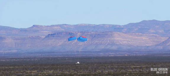 The crew capsule for Blue Origin's New Shepard spacecraft makes a soft landing with parachutes and retro rockets in West Texas during a Jan. 22, 2016 test flight.