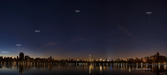 Astrophotographer Stan Honda sent in a panoramic image of five planets in the night sky over Manhattan, taken Jan. 25, 2016.